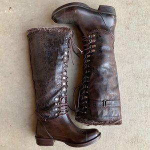 Shoes - Brown Lace Up Rain Boots with Fur Trim